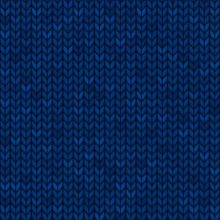 Blue seamless knitted fabric. Realistic illustration. Ilustracje wektorowe