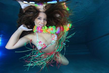 underwater woman: Woman underwater Stock Photo