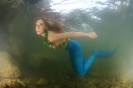 dream lake: Mermaid underwater Stock Photo