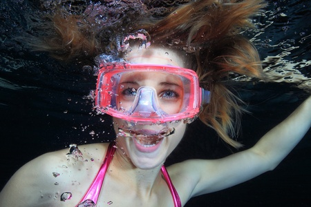 Female diver screaming  photo