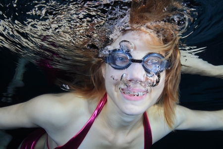 Swimmer in the pool photo