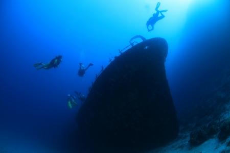 dive trip: Kuda Giri shipwreck in the indian ocean Stock Photo