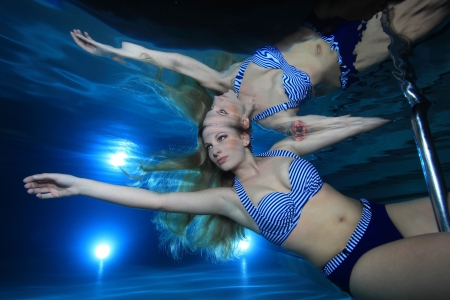 Underwatermodel in the pool  photo