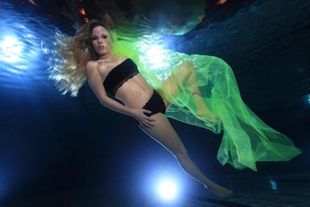 pool diving: Underwatermodel in the pool