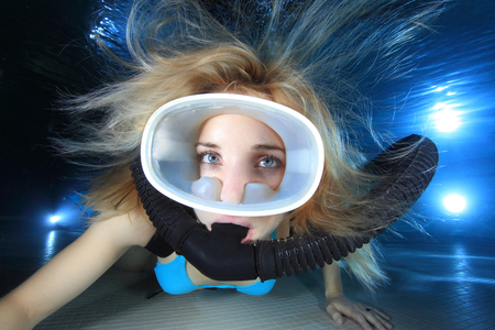 Female scuba diver close up