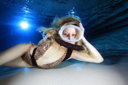 monokini: Female scuba diver  Stock Photo