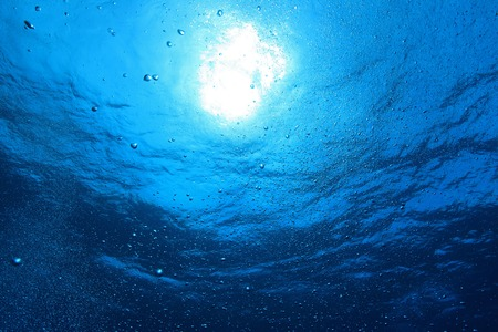 Bubbles with blue water