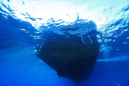 keel: Dive boat with ladders in the red sea Stock Photo