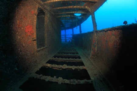 Inside shipwreck in the mediterranean sea photo