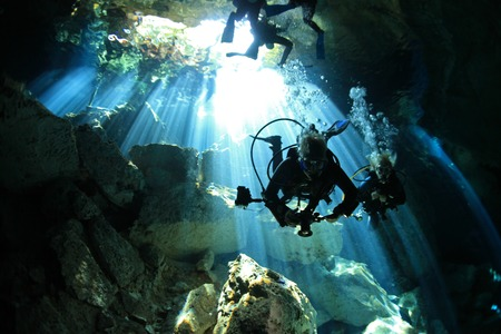 Entrance of cenote underwater cave  photo