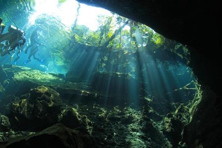 riviera maya: Entrance of cenote underwater cave
