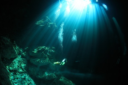 caverns: Cavediving in the cenote underwater cave  Stock Photo