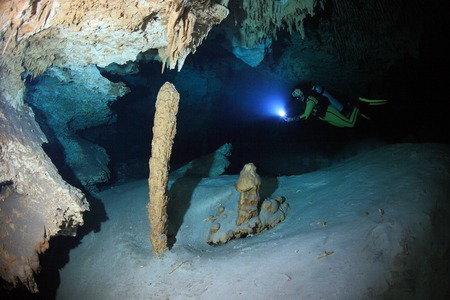 Cave diving in the cenote underwater cave