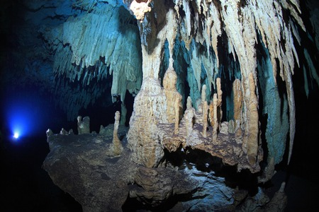Stalagmites of cenote underwater cave photo