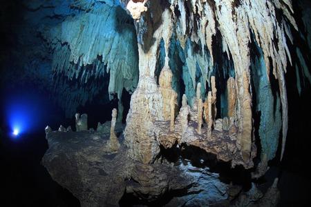 Stalagmites of cenote underwater cave