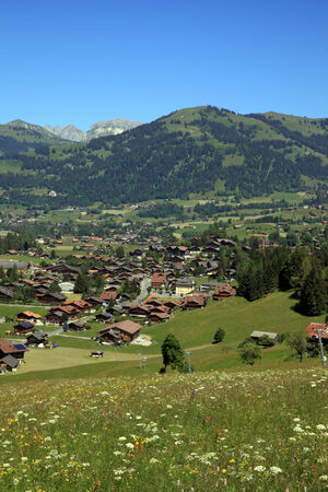 gstaad: Village of Gstaad Stock Photo