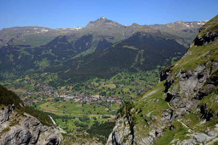 eiger: View to the swiss village of Grindelwald