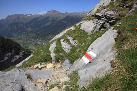 steep cliffs sign: Alpine hiking trail in the swiss mountains