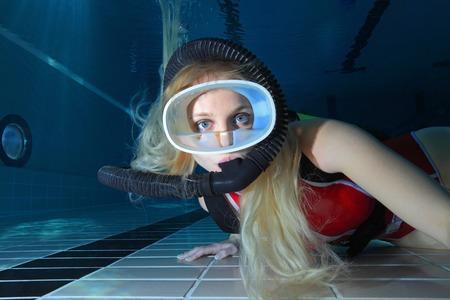 Close up of female scuba diver