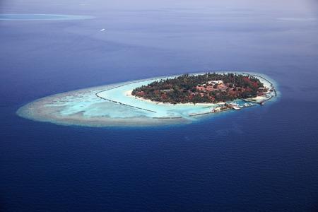 Aerial view of the maldive island Kurumba Stock Photo