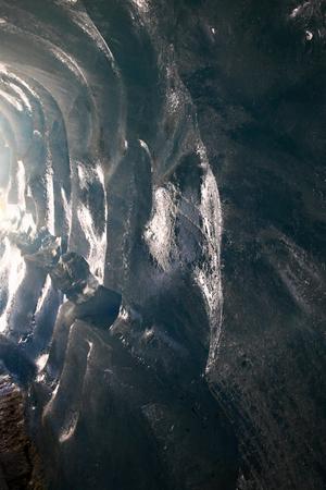 crevasse: Ice cave in the glacier Stock Photo