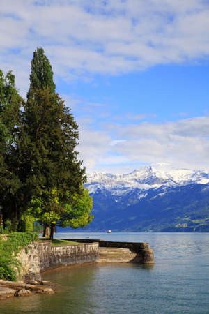 snowy mountains: Lakefront of lake Thun and snowy mountains, Switzerland