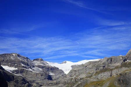 alpine hut: Wildstrubel glacier and alpine hut of L�mmeren Stock Photo