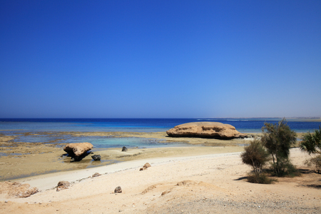Sandy beach and lagoon on the coast of the red sea Stock Photo