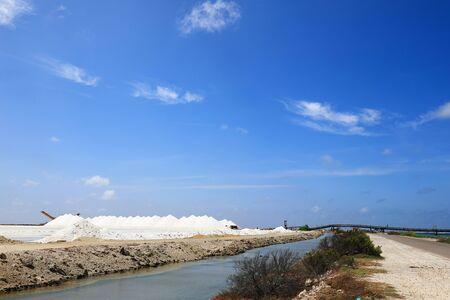 Sea salt harvesting on Bonaire island Stock Photo