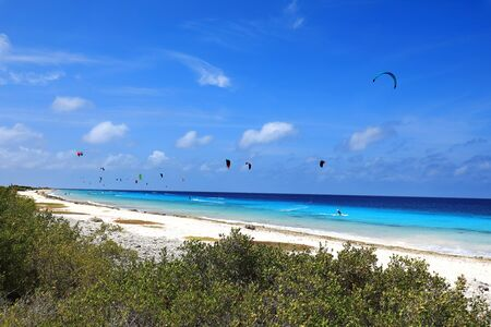 Kite boarding on Bonaire island