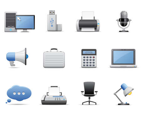 desktop printer: Business and office icons