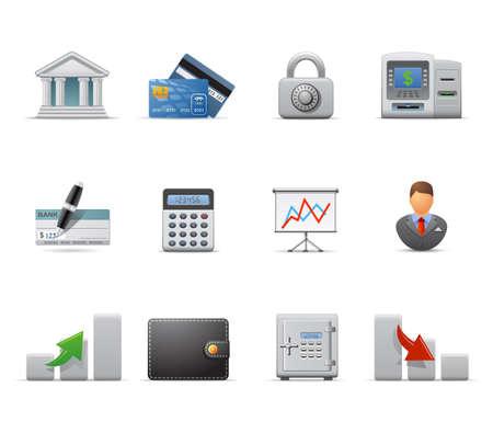 atm card: Conjunto de icono de finanzas Vectores