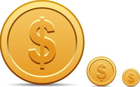 Dollar coin icon  Illustration