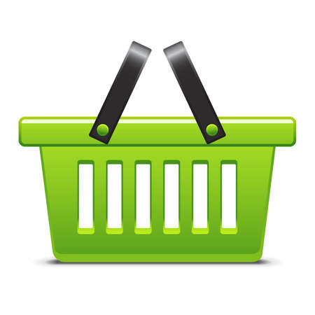 e cart: Green basket icon