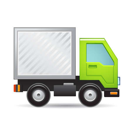 cartoon truck: Verde icono de cami�n Vectores