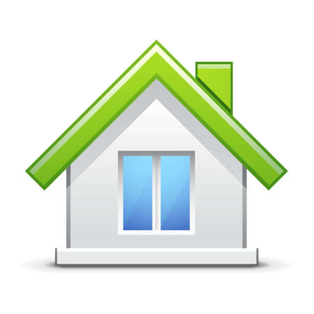 home button: Green house icon Illustration