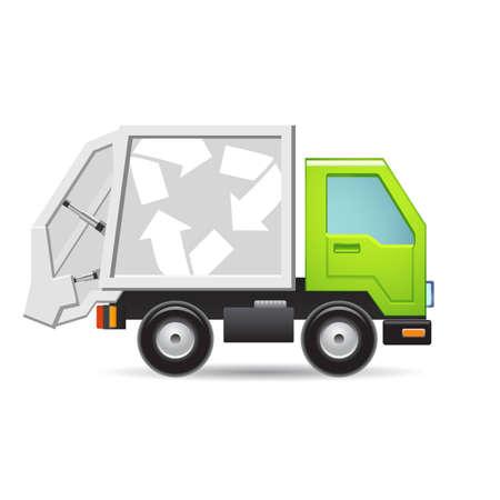 camion caricatura: Reciclaje icono de camión Vectores
