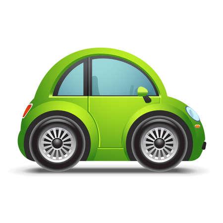eco car: Groene auto icoon Stock Illustratie