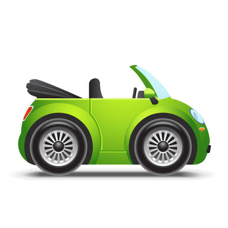 soft toy: Green cabriolet icon Illustration