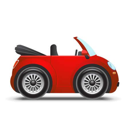 cabrio: Red cabriolet  icon Illustration