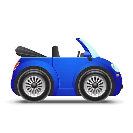 convertible car: Azul descapotable icono Vectores