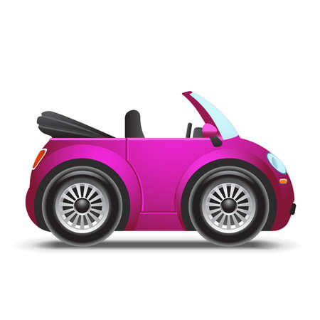 Pink cabriolet icon Illustration