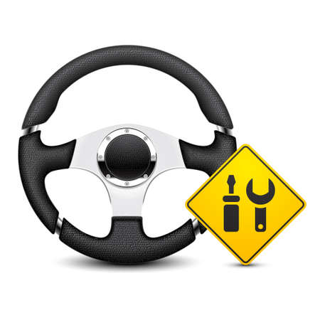 steering: car steering wheel service icon