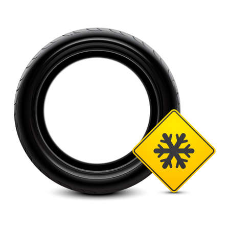 snow tires: Winter tire icon  Illustration