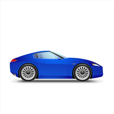 motorized sport: Blue sport car Illustration
