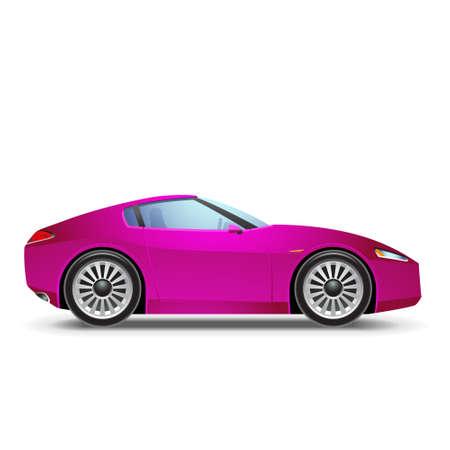 course de voiture: Voiture de sport rose Illustration