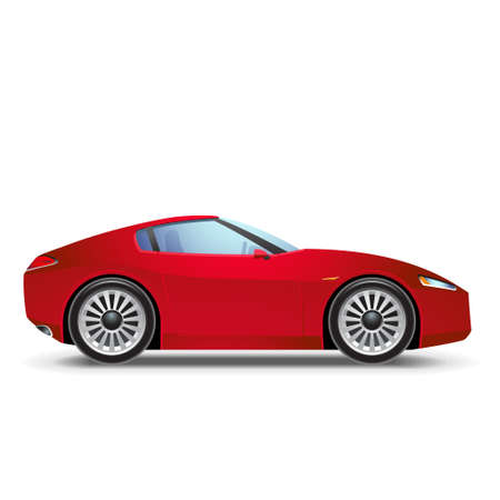 motorized sport: Red Sport car icon Illustration