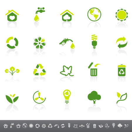 save button: Environmental icons Illustration