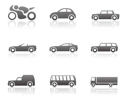 auto sign: Transporte conjunto de iconos Vectores