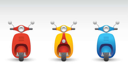 moped: Set of three scooters Illustration